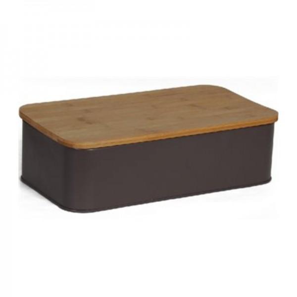 Ψωμιέρα Μεταλλική Με Καπάκι Ξύλο Κοπής εstia 01-3623