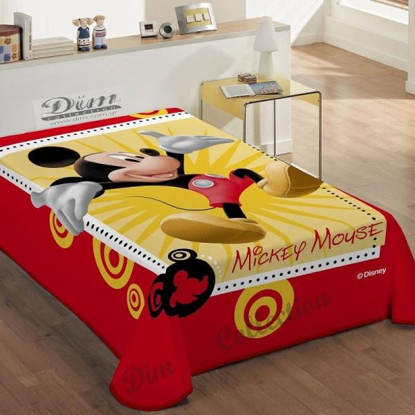 Κουβέρτα Βελουτέ Μονή Dim Collection Disney Happy Mickey Red