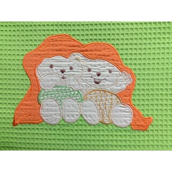 Κουβέρτα Πικέ Κούνιας White House Teddy Bear Green