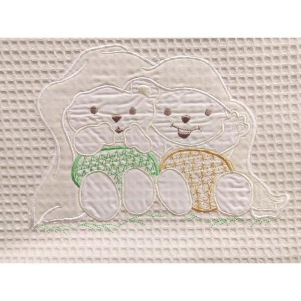 Κουβέρτα Πικέ Κούνιας White House Teddy Bear Beige