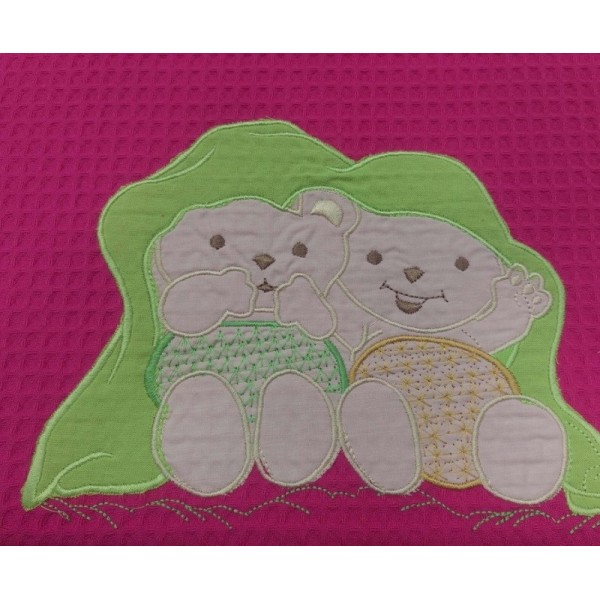 Κουβέρτα Πικέ Κούνιας White House Teddy Bear Fuchsia