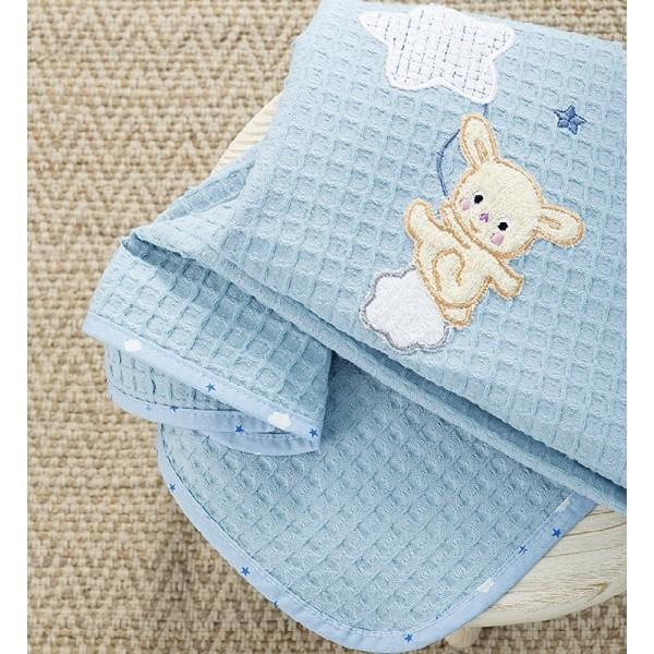 Κουβέρτα Πικέ Κούνιας Nima Home Baby Star Blue