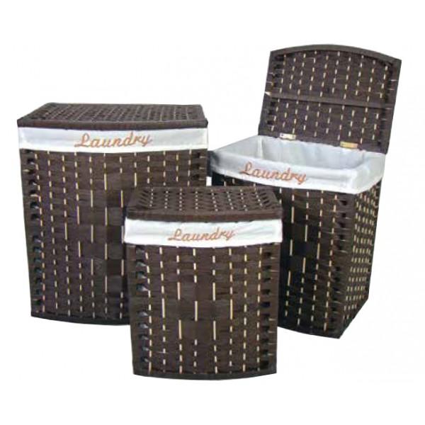 Ψάθινο Καλάθι Ρούχων (38Χ25Χ44) Box Wenge E-2119