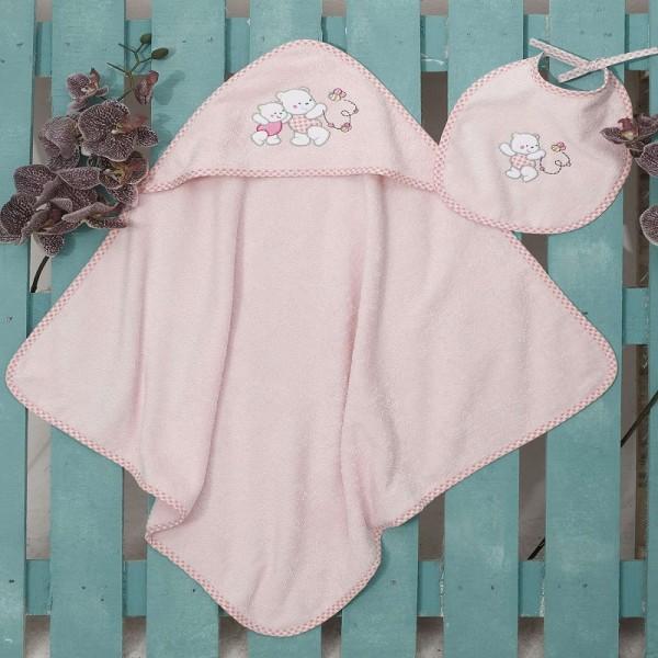 Κάπα + Σαλιάρα Sb Home Teddy Bear Pink