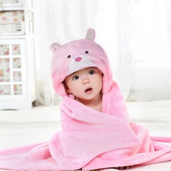 Κουβέρτα Fleece Αγκαλιάς Palamaiki Bear Pink