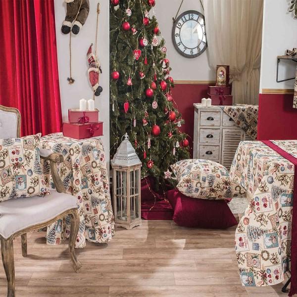 Χριστουγεννιάτικο Καρέ 90Χ90 Teoran Jolly
