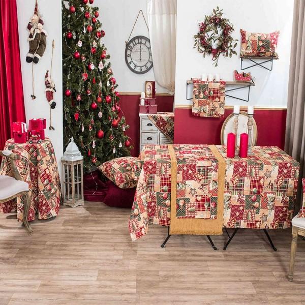 Χριστουγεννιάτικο Καρέ 90Χ90 Teoran Tinsel