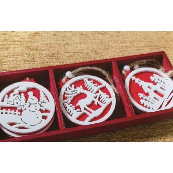 Χριστουγεννιάτικα Στολίδια 6 Τεμαχίων Teoran Christmas Round