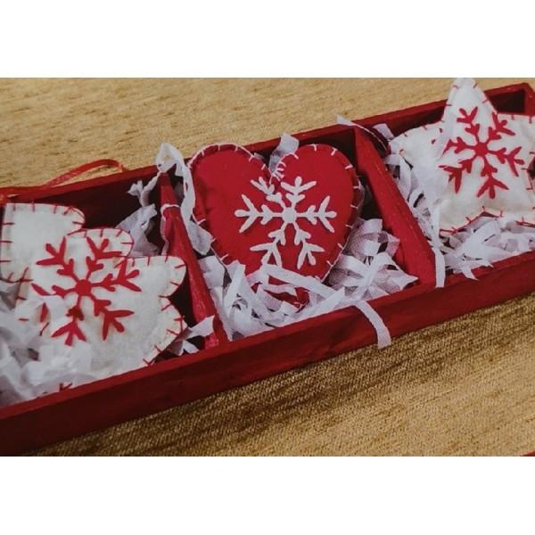 Χριστουγεννιάτικα Στολίδια 3 Τεμαχίων Teoran Heart