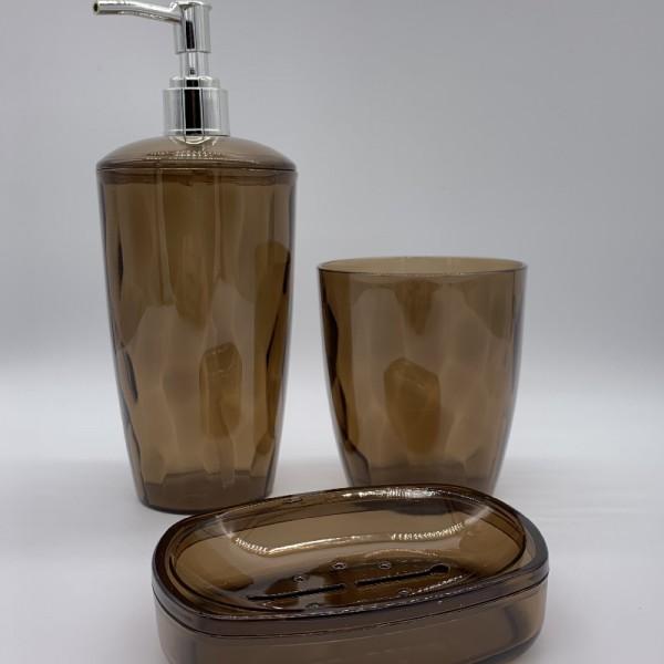 Σετ Μπάνιου 3 Τεμαχίων Πλαστικό E-0796 Καφέ